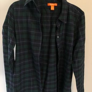 Plaid long sleeve green and navy blue